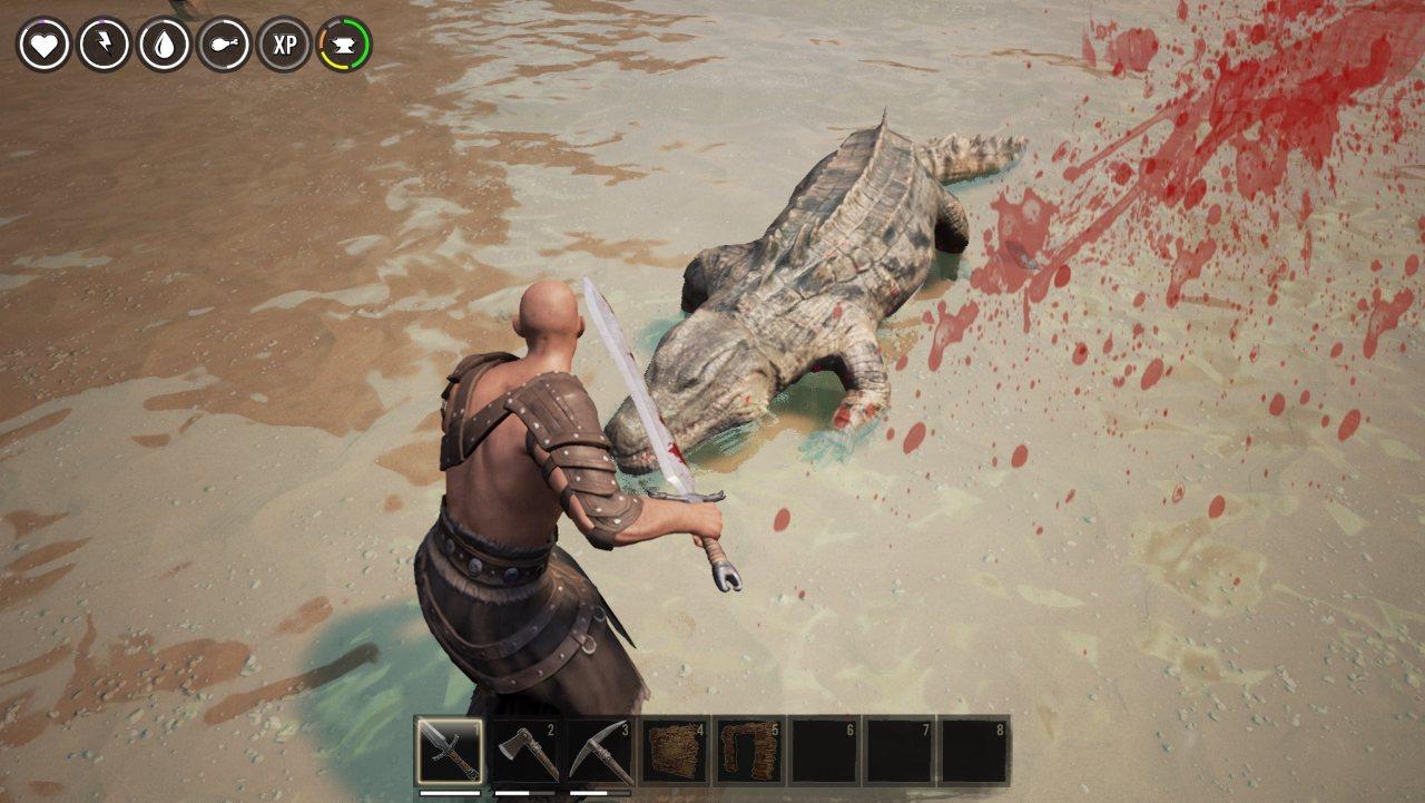 Conan Exiles бой с крокодилом